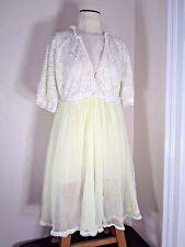 VTG 50s Robe Womens M Gaymode Penneys Chiffon Yellow Swing Knee Length Lace Top