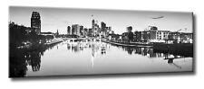 Leinwand Bild Frankfurt Skyline Schwarzweiß Panorama Wasser Spiegelung Städte BW