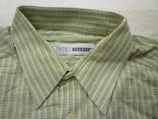 E7852 Olymp Tendenz Businesshemd Kombimanschette 43 grün, weiß kariert Neuwertig