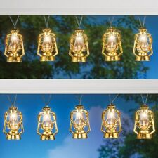 Set of 10 Solar Powered Golden Old Fashioned Lantern Garden String Lights
