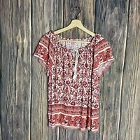 Lucky Brand Top Large Women's Floral Tassels Peasant Boho Red White Casual