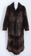 Da Donna Cappotto Vintage 100% Autentico BEAVER pelliccia inverno caldo Giacca Marrone L Large