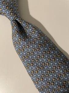 Hermes Tie - Blue/grey/brown Fish 7862 UA