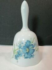 Vintage Inarco Japan Porcelain Bell Blue Floral Flowers w/ Label