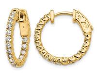 9/10 Carat (ctw VS2-SI1, E-F) Lab Grown Diamond Hoop Earrings 14K Gold