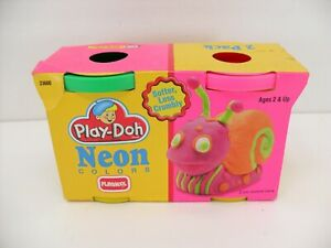 Vintage 1992 Playschool Play-Doh Neon Colors 2 Pack Green Pink Factory Sealed
