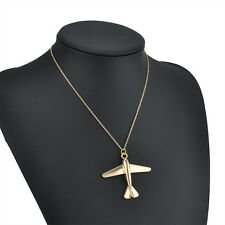 New Simple Chic Aircraft Plane Pendant Chain Gold Plated Charms Necklace Jewelry