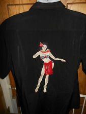 Dragonfly Embroidered Hula Girl Swaying Skirt Hawaiian Men's Shirt XL