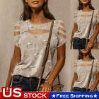 Women Summer Casual Short Sleeve Tops Cold Shoulder T-Shirt Round Neck Blouse US