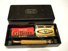 Vintage Goldtone Gillette Razor In A Clix Box