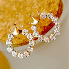 Exquisite Charm Crystal Rhinestone Queen Crown Ear Studs Earrings Jewelry Gift