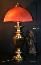 Rare, Huge 1950s brass table lamp large tinted ribbed prismatic holophane shade