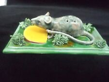 MOUSE w/ CHEESE TOOTHPICK HOLDER PALISSY MAJOLICA PORTUGUESE CALDAS SIGNED