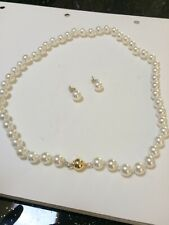 """GENUINE AAA 8-9MM Cultured Akoya WHITE PEARL NECKLACE 14K gold clasp 16"""""""