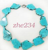 Newest Hot Sale Irregular Turquoise Slice Stone Choker Necklace Bead Woman Gift@