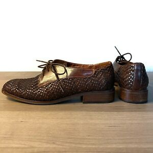 Sesto Meucci Oxford Shoes Brown Woven Leather Lace Up Womens Size 7.5 M