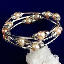 "Natural Three Circles Pink Pearl Adjustable Bracelet 7.5 "" ALZZ1"