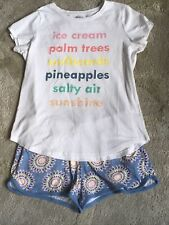 EUC 14 16 XL Crazy 8 Ice Cream Pineapples Surfboards Shorts Set Outfit