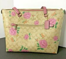 Coach Gallery Tote Pink Rose Print in Signature Light Khaki Handbag Purse New