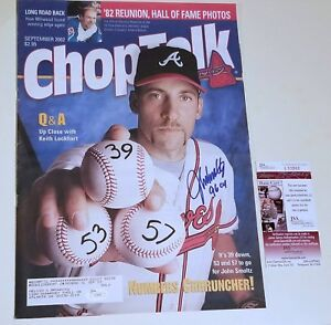 John Smoltz Signed Magazine Inscribed 96 CY Chop Talk September 2002 JSA COA