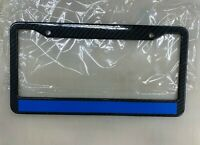 Reflective Thin Blue Line Support Police License Plate Frame ABS Plastic Carbon