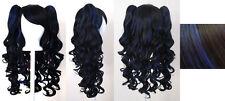 20'' Lolita Wig + 2 Pig Tails Set Black, Blue Mix Blend Cosplay Gothic Sweet