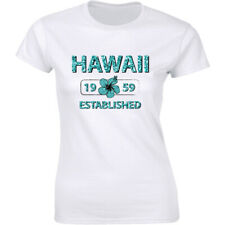 Established August 21, 1959 Hawaii Flag Women's T-Shirt State Home Birthday Tee
