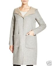NWT $648 Eileen Fisher Hooded Baby Alpaca Wool Doubleface Coat LRG Color: Moon