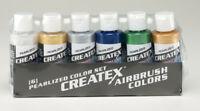 Createx Airbrush Colors Pearl Airbrush Paint Set Water Based 6 * 2oz