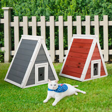 New listing Triangle Wood Cat Pet House Cat Condo with Double Entrances Outdoor and Indoor