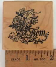 To & From Gift Tag Rubber Stamp PSX D-460 Rose English Ivy Vine Roses New