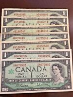 7 X 1867-1967 $1.00 Bank of Canada Notes - Circulated with Mixed Prefixes