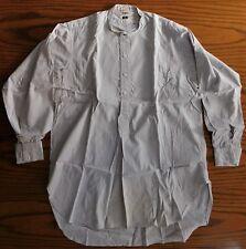 Grey striped utility shirt CC41 collarless Austin Reed tunic 1940s war time 16.5