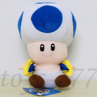 Super Mario Bros. Mushroom 7'' Toad Blue Stuffed Animal Plush Soft Toy Nintendo