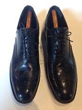 Mens FREEMAN FREE-FLEX Dress Shoes 10A Black Wing-Tip Lace-Ups Wingtip Oxfords