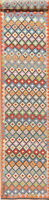 Geometric Reversible Kilim Oriental Runner Rug Wool Hand-Woven Palace Size 3x20