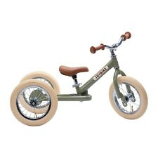Trybike 2 in 1 Steel Tricycle Balance Bike Green Vintage Chrome Part Cream Tyres