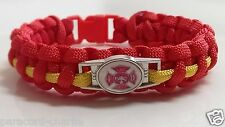 Fire Fighter Generic Department Emblem; Red with Yellow Line Paracord Bracelet