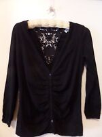 Fashion Bug Black Women's Black top with lace backing size M