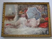 VINTAGE NUDE PAINTING RECLINED FEMALE MODEL POSING WOMAN PRETTY IMPRESSIONIST