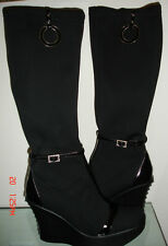 BAROCO COLLECTION STRETCH WEDGE PLATFORM BOOTS CRYSTALS 36 $750 ITALY WOW!
