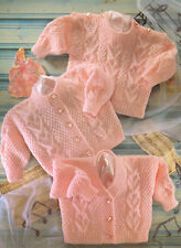"""Heart Panel Textured Baby Cardigans & Sweater DK 16"""" - 22"""" Knitting Pattern"""