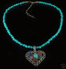 Sterling Silver Multi-gemstone Turquoise Heart Necklace