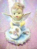 VTG Lefton Japan Angel Holding Pink Rose Bell Figurine