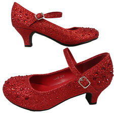 Girls Red Diamante Party Bridesmaid Kitten Heel Shoes Glitter Sparkle Bling