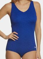 $196 Speedo Women Blue Stretch V-Neck Pebble Textured One Piece Logo Swimsuit 16