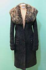 Exklusiver Lamm Fell Mantel Damen schwarz Gr 44/L Leder Vintage-REISLER*