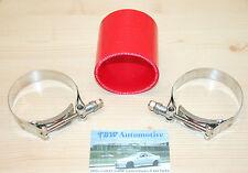 """Silikonschlauch 76 mm ROT + HD Schellen *NEU* Verbinder 3 Zoll LLK Turbo 3"""" red"""