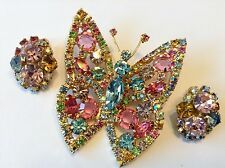 VTG ALICE CAVINESS SIGNED FRUIT SALAD RHINESTONE BUTTERFLY BROOCH & EARRINGS