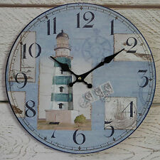 Wooden Wall Clock Round Shabby Nautical Chic Lighthouse Coastal Seaside 33cm Dia
